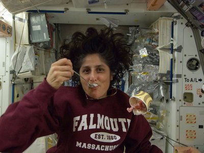 Astronaut Sunita Williams enjoying ice cream the last time it was sent to the International Space Station in 2012