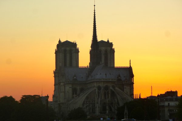 Notre Dame outlined against the sky thumbnail