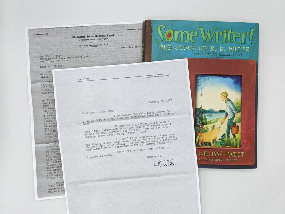 Photocopies of two typed letters and a book in a fan arrangement.