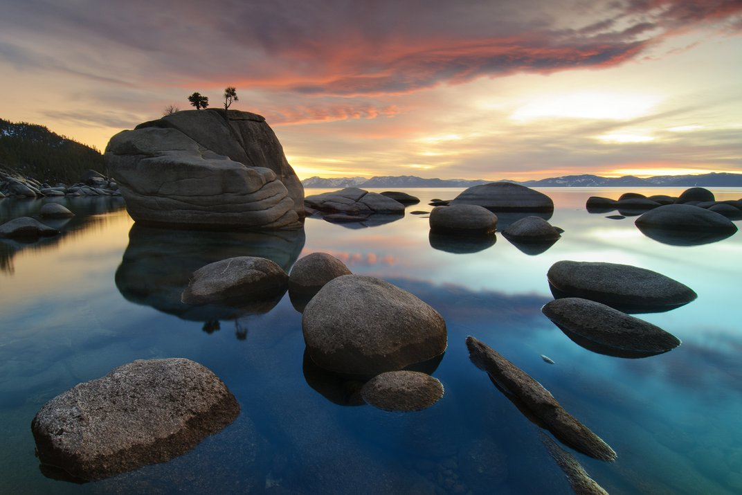 Sun Sets Over Bonsai Rock On The Nevada Side Of Lake Tahoe Smithsonian Photo Contest Smithsonian Magazine