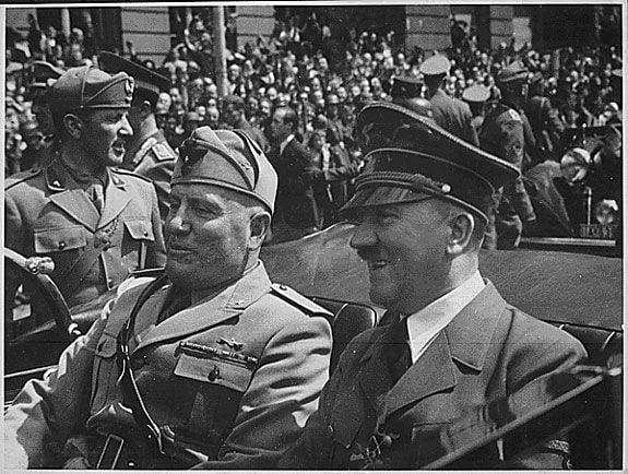 Mussolini and Hitler in Munich in 1940.