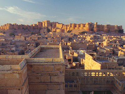 View of Jaisalmer Fort, built in 1156 by Rawal Jaisal, which has 99 bastions around its circumference.