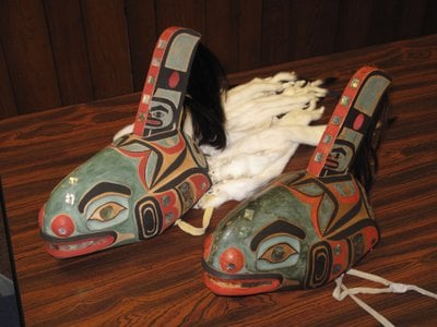 The replica (left) and original were first displayed together at the 2012 clan conference in Sitka, Alaska.