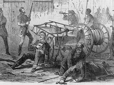 """John Brown and many of his followers holed up in the fire engine house awaiting reinforcements by a swarm of """"bees""""—slaves from the surrounding area.  But only a handful showed up."""
