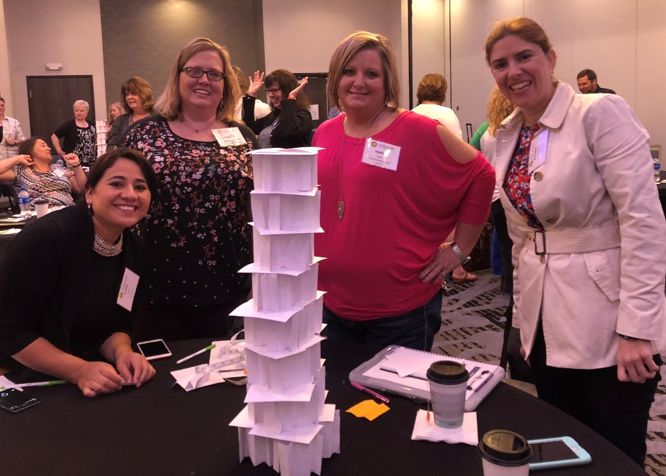 Tower designed by a team at the 2018 STEM Forum hosted by Dow, Jacobs, and the SSEC in Lake Jackson, TX.