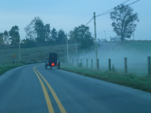Riding behind a Mennonite buggy in early morning thumbnail