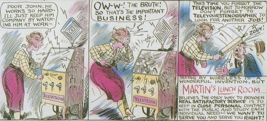 Cartoon poster which hung outside Martin's Lunch Room circa 1929