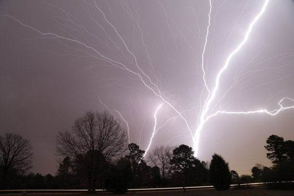 Lightning from two different broadcast towers.  Canon 5d marklll.  Tripod mounted with a cable release. thumbnail