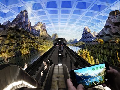 Imagine a meta-memorial of the National Parks that projects high-definition video and recordings in metro stations, examining the role of wilderness in times of social inequality and ecological change.