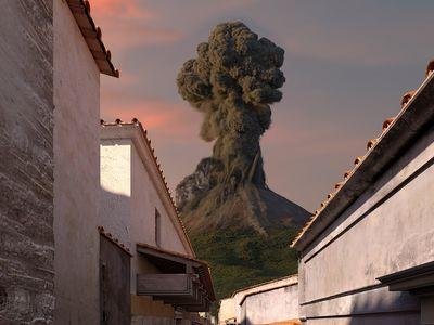 A virtual version of Mount Vesuvius looms over the exhibition.