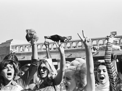 Women gleefully threw objects