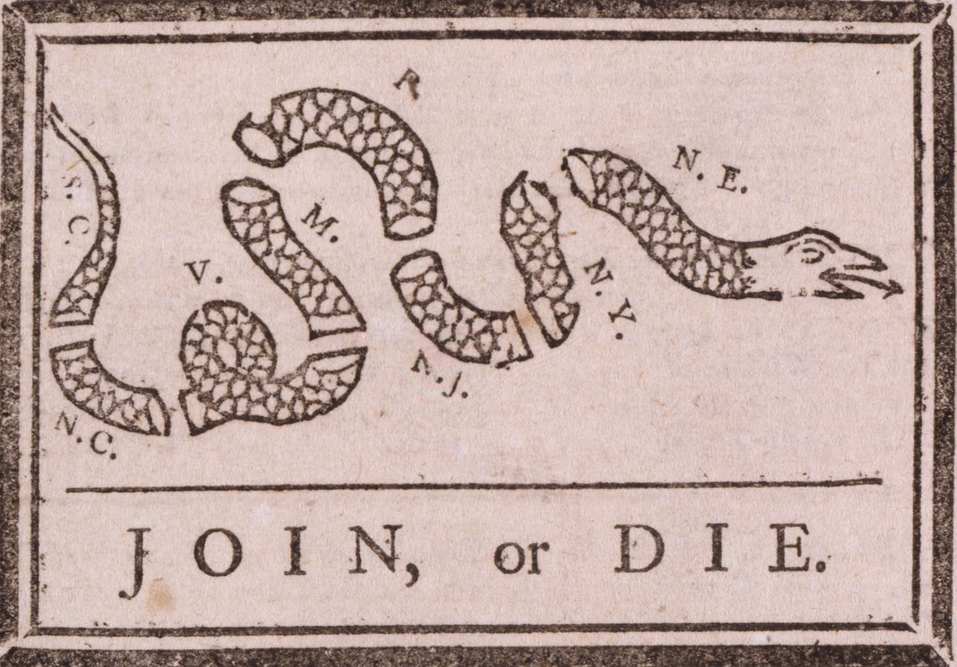 """Join or Die,"" by Benjamin Franklin, 1754. Library of Congress"