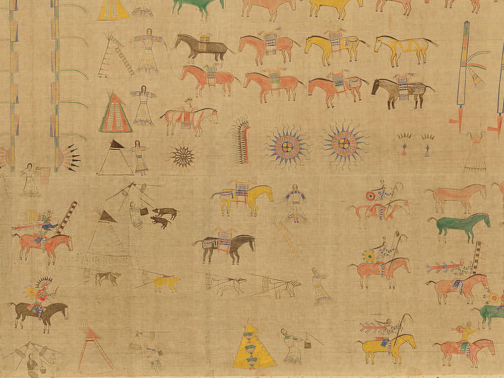 Cegape or Strike the Kettle (Lakota, ca. 1841–?). Untitled painting, collected in 1893. North or South Dakota. 20/5176. Most large paintings of this kind focus on a single event, often a battle. This painting, made by a follower of Sitting Bull, shows warriors—figures on horseback carrying lances and shields—within the Lakota way of life. (National Museum of the American Indian, Smithsonian)