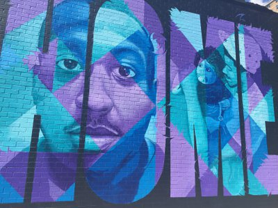 """""""I Just Want to Come Home,"""" a mural addressing the relationship between police and young men of color."""