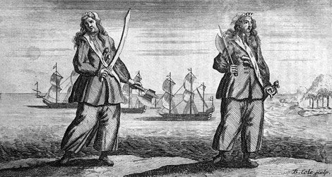 Anne Bonny (left) and Mary Read, as rendered in A General History of the Pyrates