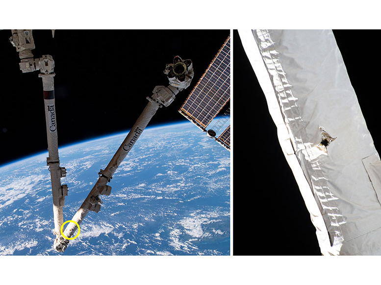 Two photos show the robotic arm with Earth in the background, and a close-up shows the small hole in the white thermal blanket on the arm