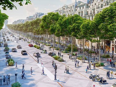 The new plan creates more space for pedestrians and trees.