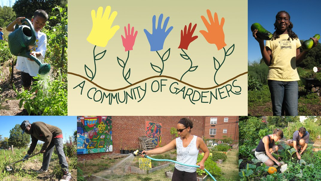 """Collage of people in gardens with a """"Community of Gardeners"""" graphic."""