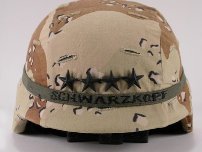 """Schwarzkopf's helmet, a PASGT, represents """"how technology and innovation work together in the field of ground-forces protection,"""" says Frank Blazich, Jr., the Smithsonian's curator of modern military forces."""