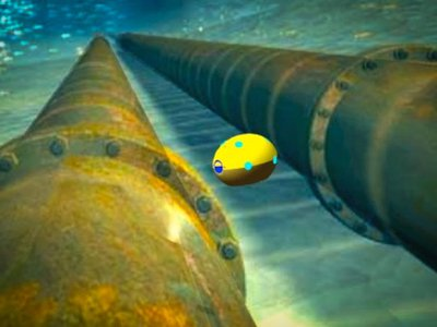 A robot skims along a ship's hull, using ultrasound to identify hollow spots where goods might be smuggled.