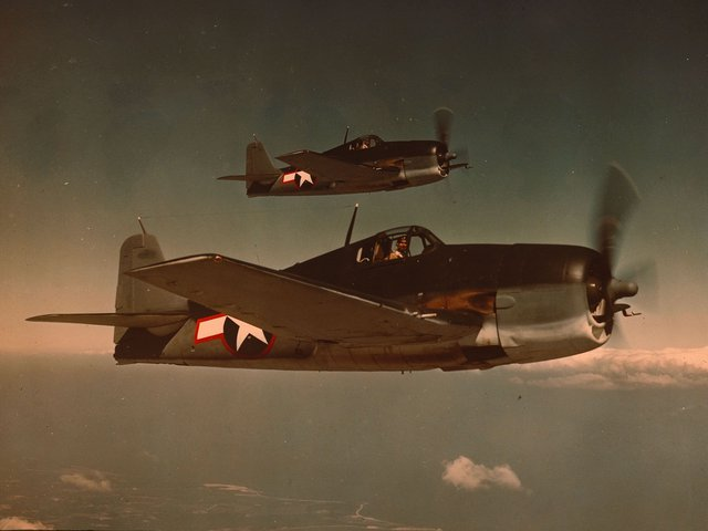 On October 24, 1944,the Battle of Leyte Gulfhad just begun when two Hellcat pilots U.S. Navy Capt. David McCampbelland his wingman Ens. Roy Rushing spotted a squadron of 60 Japanese aircraft, including bombers escorted by Zeroes (above: a 1943 photograph of Grumman F6F Hellcats in flight).