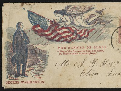 George Washington standing at Mount Vernon and an angel with the American flag. Addressed to Mr. S.H. Haggy, Etna, Licking Co., Ohio.