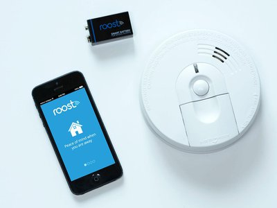 A startup called Roost is developing a WiFi-enabled battery that listens for an alarm and sends a message to your phone when your smoke detector blares.