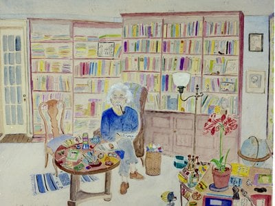 Plunguian's watercolor of Einstein in his Princeton office.