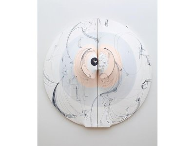 The circa 1968-96 Lunar con Tatuaje (Moon With Tattoo), made of stretched canvas and acrylic, is one of over 40 works in the retrospective.