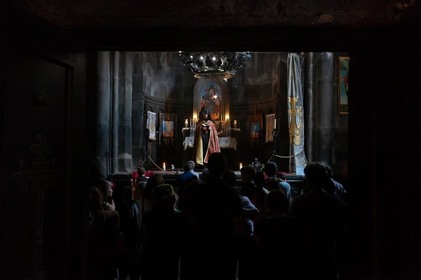 Wedding ceremony in an Armenian monastery. thumbnail