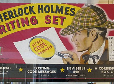 An interactive game from 1946 featuring Sherlock's signature deerstalker cap and magnifying glass