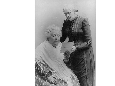 """The roots of the women's suffrage movement can be located here: in Seneca Falls, the home of Elizabeth Cady Stanton (seated, with Susan B. Anthony) is a historic landmark. Of the right to vote, Stanton declared: """"Have it we must."""""""