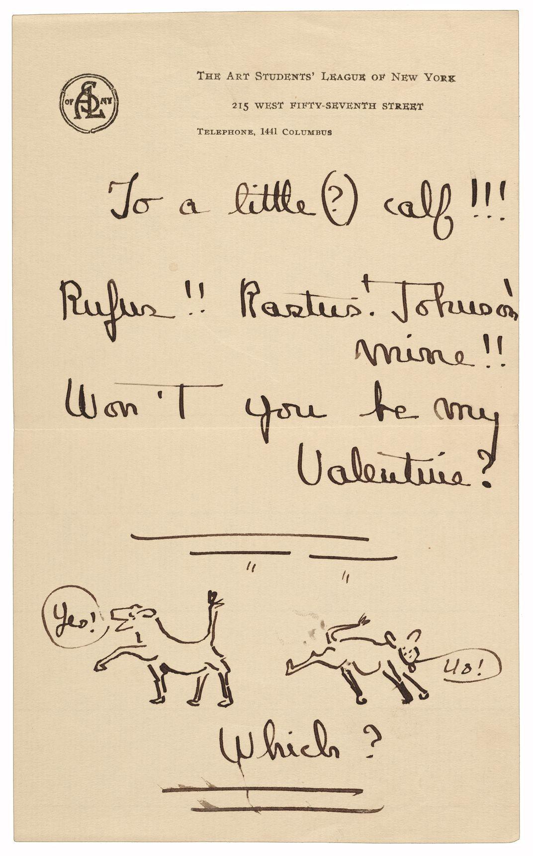 Illustrated valentine sent to Grace Mott Johnson by Andrew Dasburg