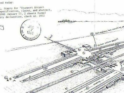 Jim Starry's patent drawing for the Starport airport design