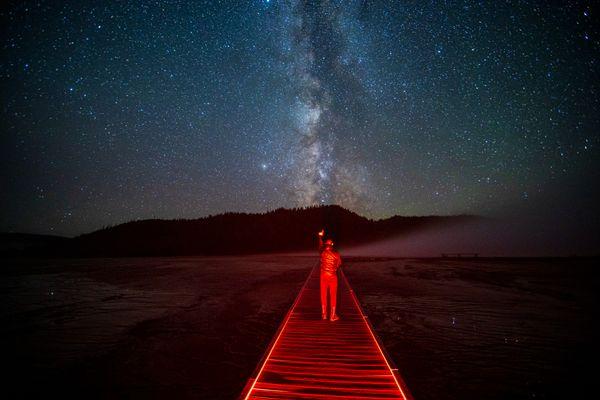 Yellowstone Geysers and Milky Way thumbnail
