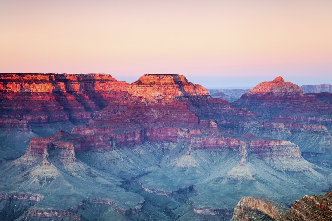 Layers of sedimentary rock can be seen in this image of the Grand Canyon.