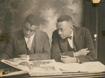Few oil paintings exist of prominent early-20th century African-Americans (above: Portrait of Clarence Muse and Elliot Carpenter by Woodard's Studio, ca. 1937), but the photographic record is much richer, says Kate Lemay.