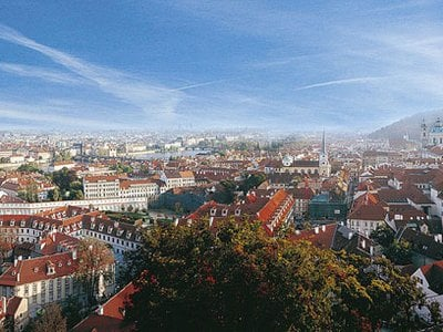 This panoramic view of Prague was taken from one of three ballustraded balconies of the Lobkowicz Palace.