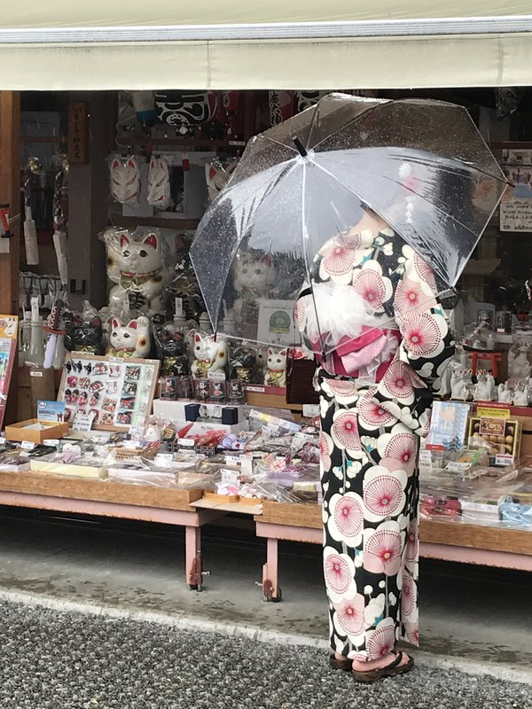Kimono Girl with Souvenirs in the Rain thumbnail