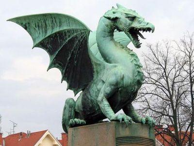 A dragon statue in Ljubljana, Slovenia