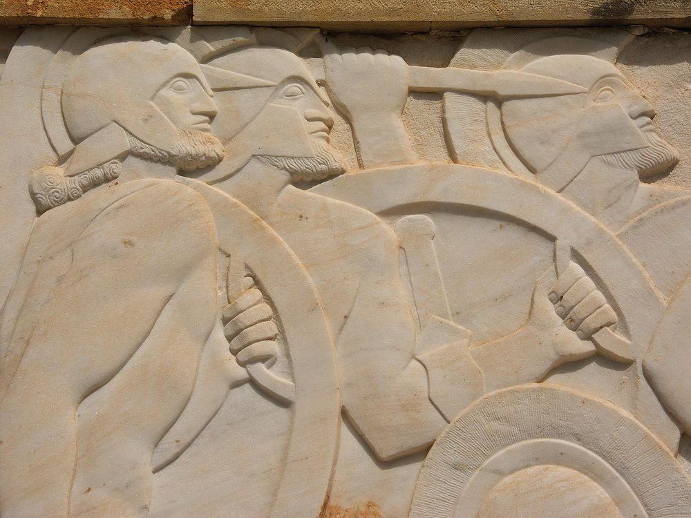 A monument in Thermopylae to King Leonidas.